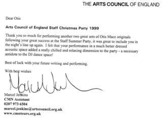 2nd Arts Council thank you letter