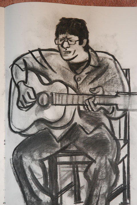 Murray Grimsdale,charcoal on paper.