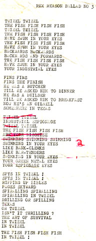 Original Lyric Sheet by Richard Von Sturmer,Twizel